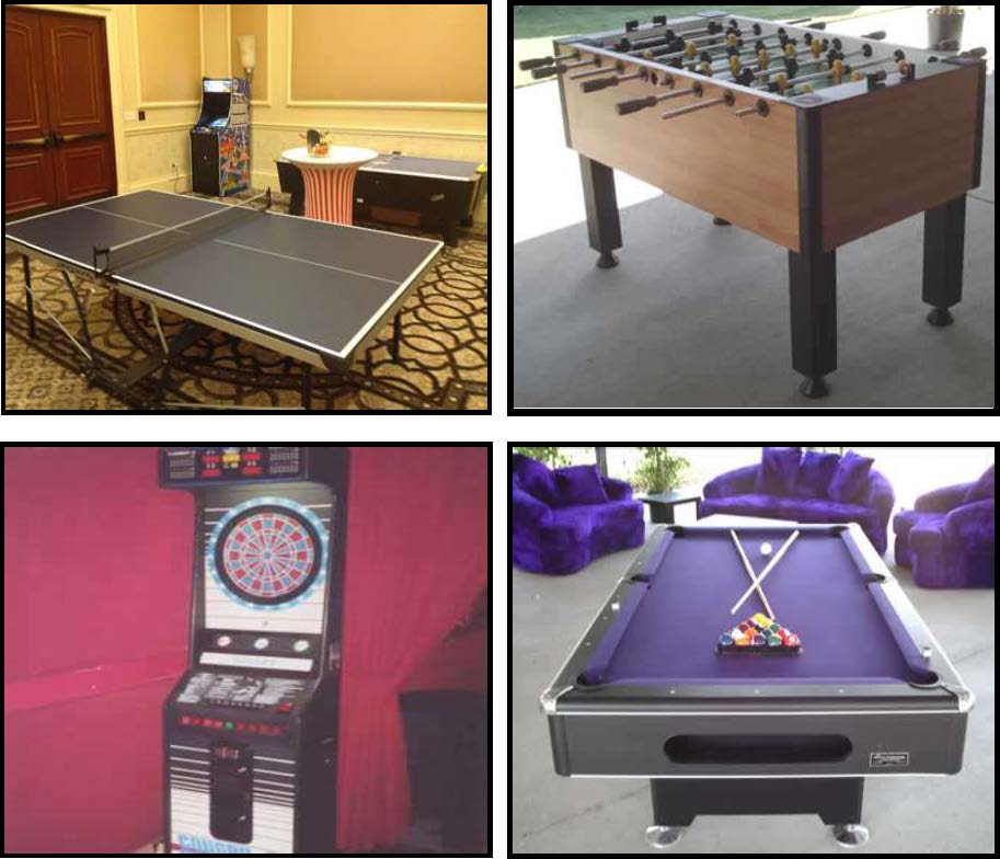 traditional games like foozball, ping pong, darts, pool