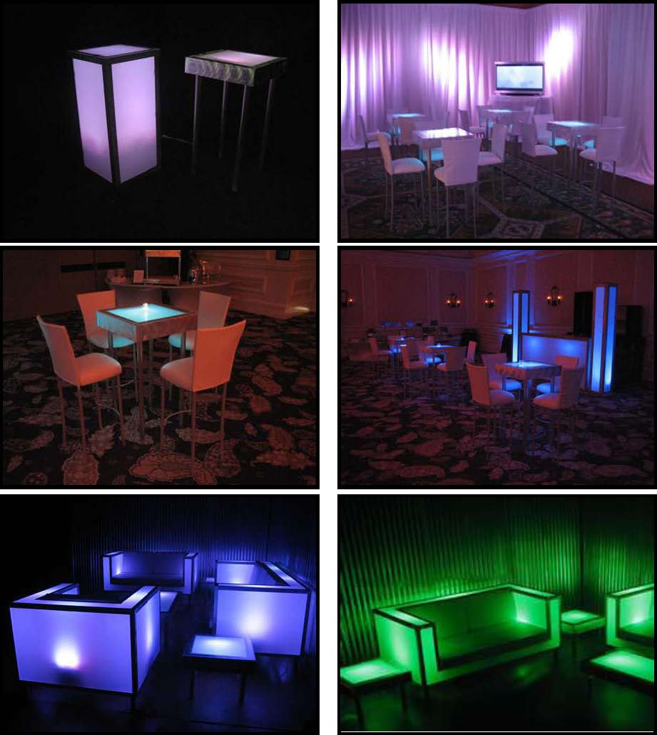 illuminated tables 2 feet x 2 feet