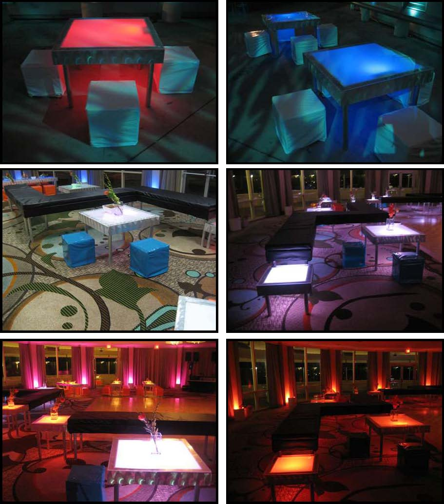 illuminated tables 3 feet x 3 feet