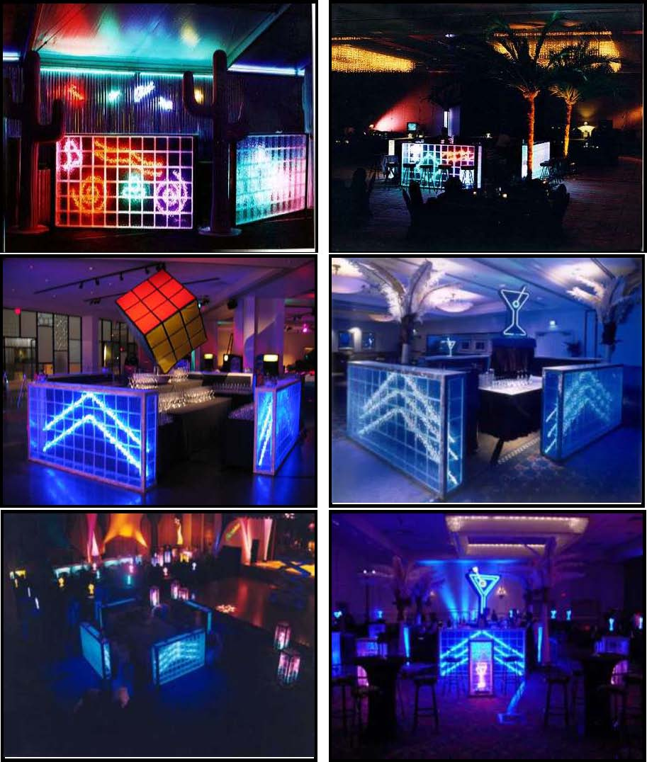 illuminated glass block bars