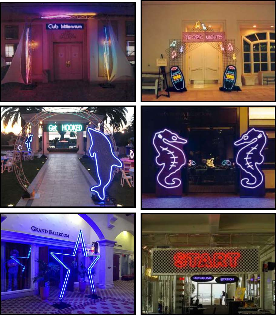 neon illuminated props and products for entryway