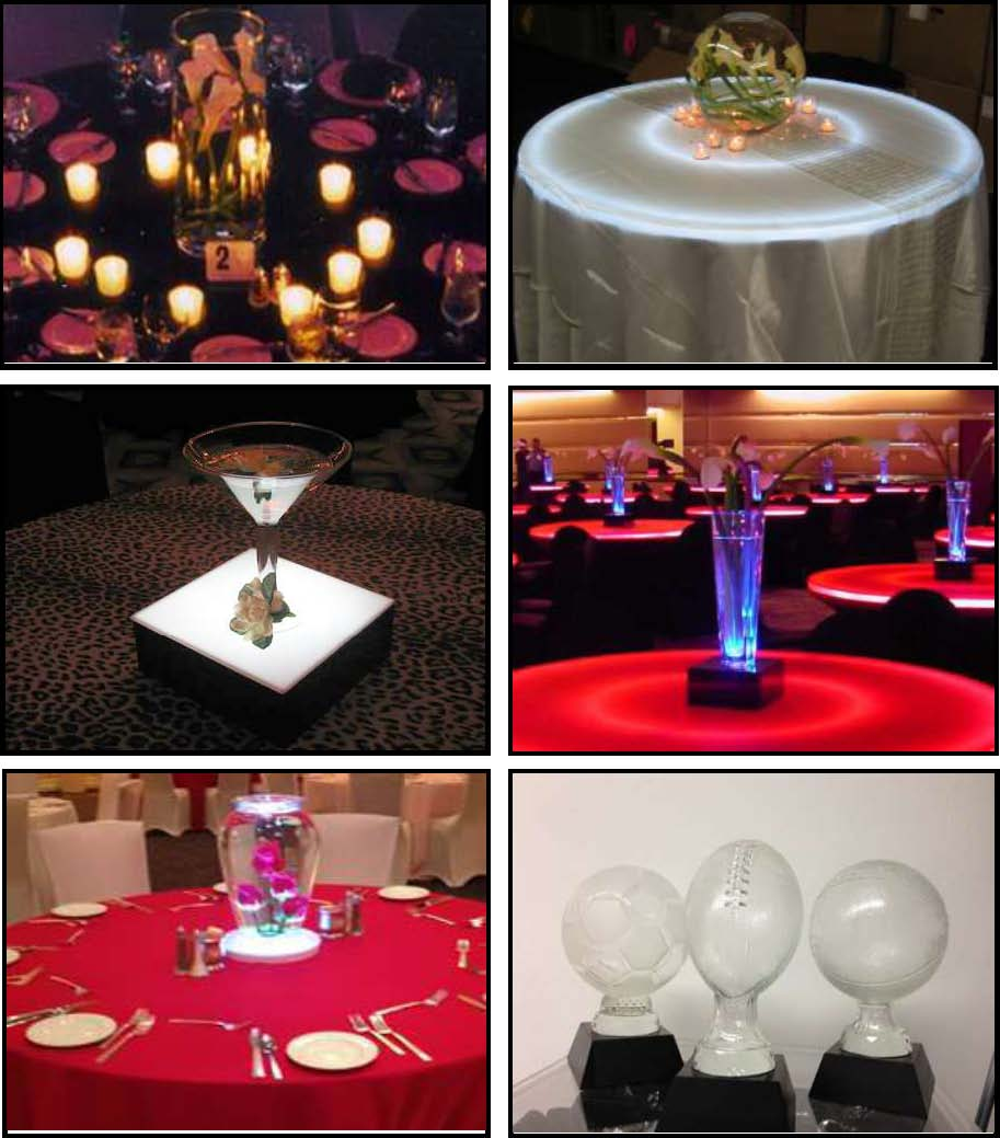 glass centerpieces for props and products