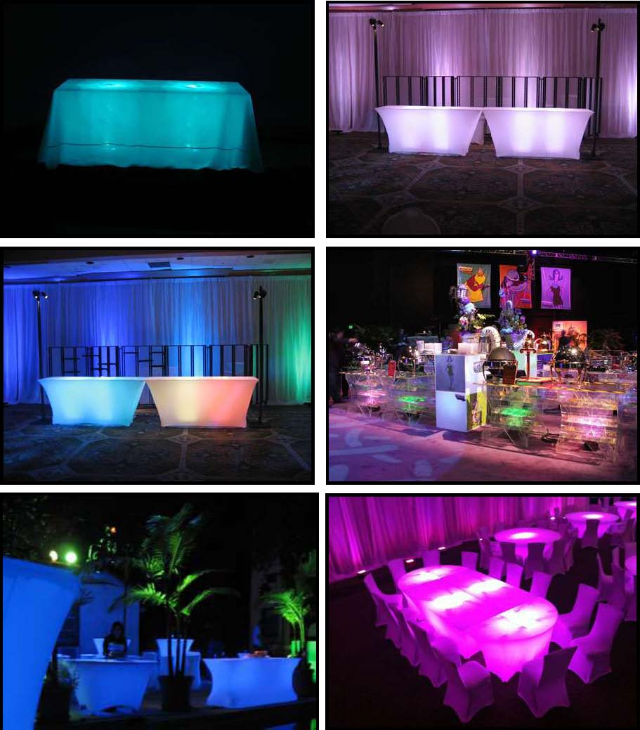 acrylic led buffet tables